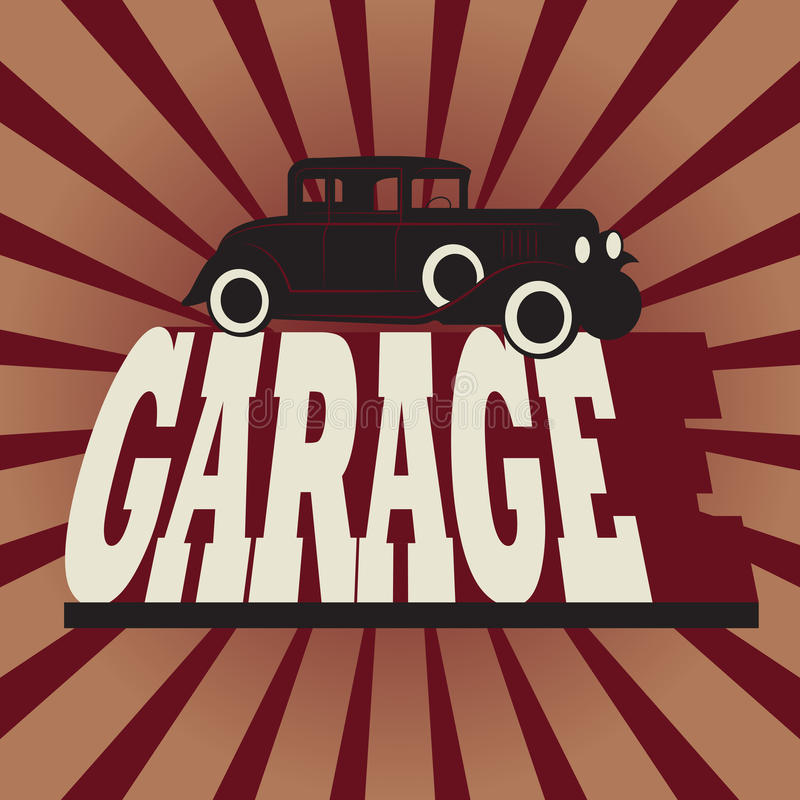 Muestra del garaje del vintage stock de ilustración
