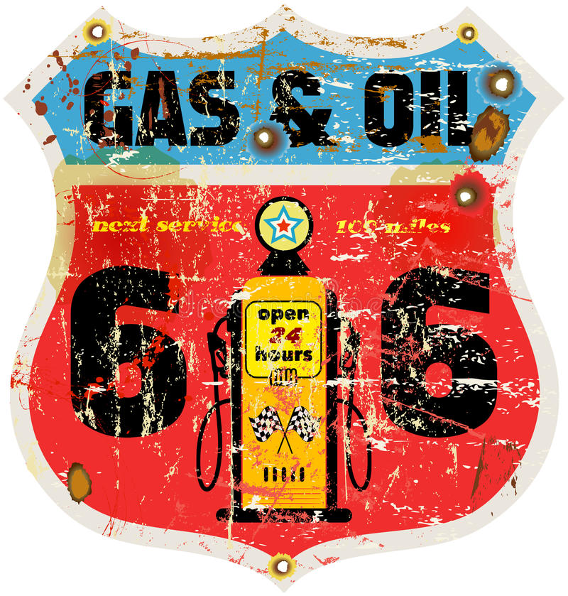 Muestra del gas de la ruta 66 del vintage libre illustration
