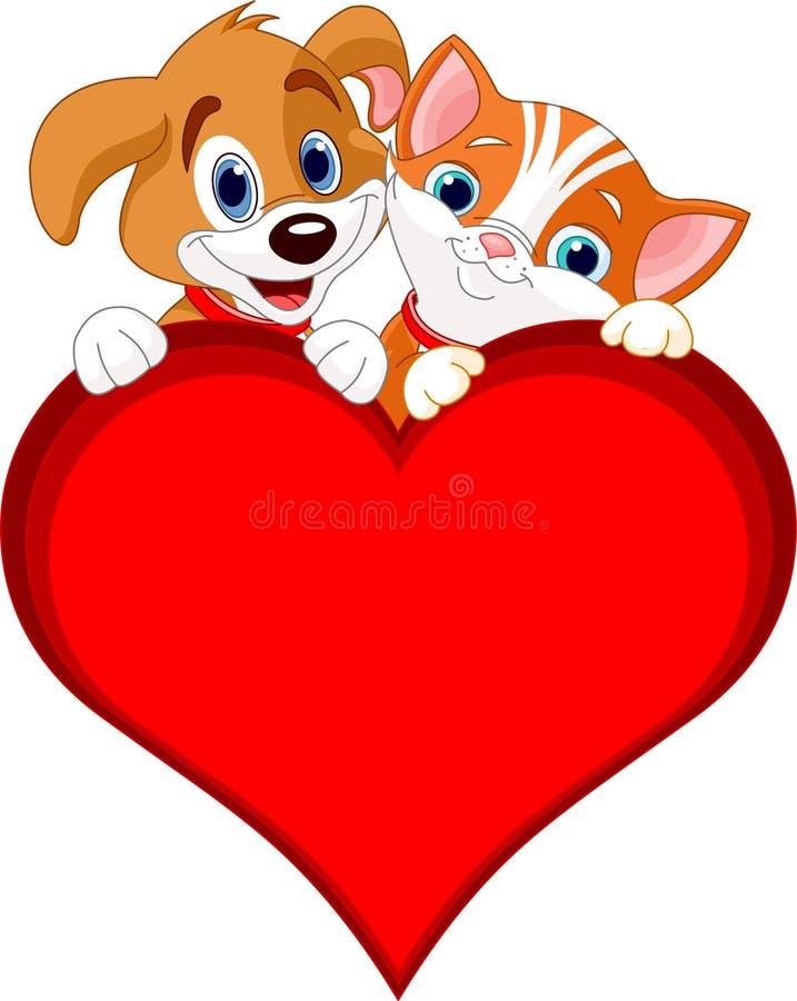 Muestra del gato y del perro de la tarjeta del día de San Valentín ilustración del vector