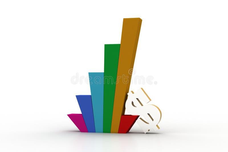 Muestra del gráfico y de dólar de negocio stock de ilustración