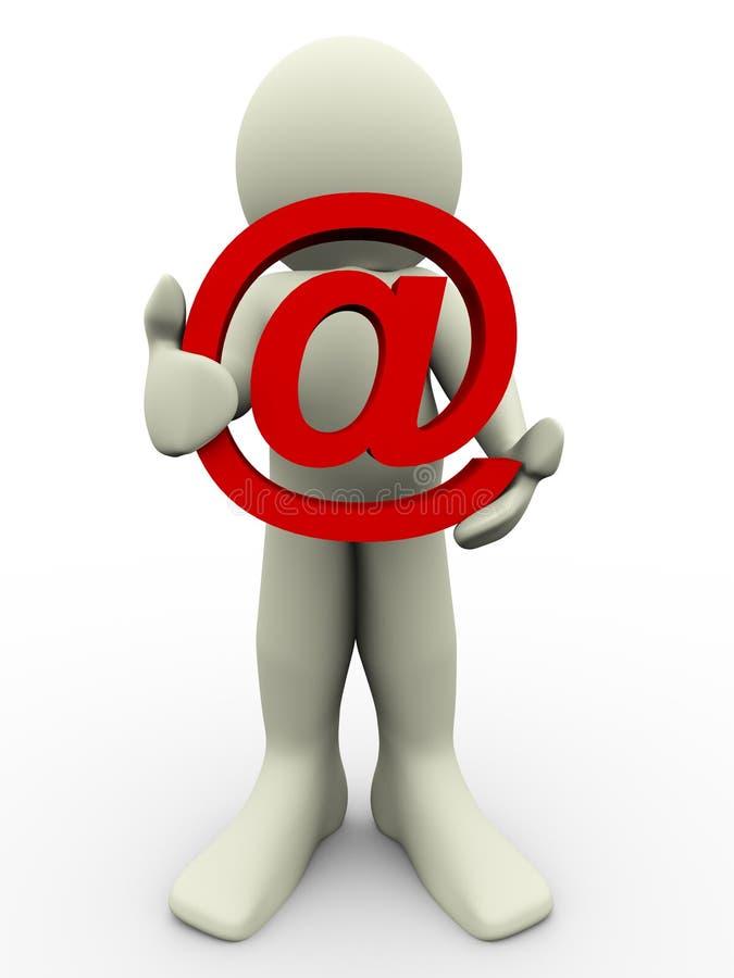 muestra del hombre 3d y del email stock de ilustración