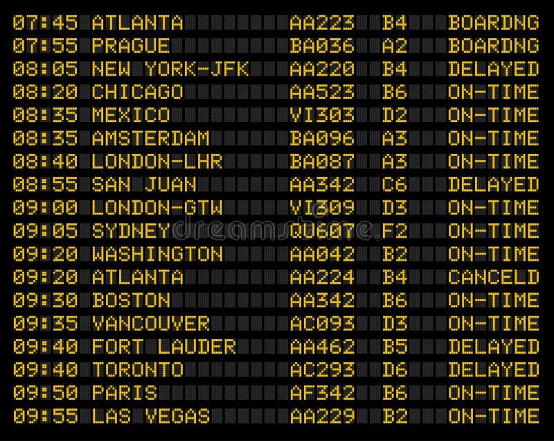 Muestra del horario de vuelo del aeropuerto stock de ilustración