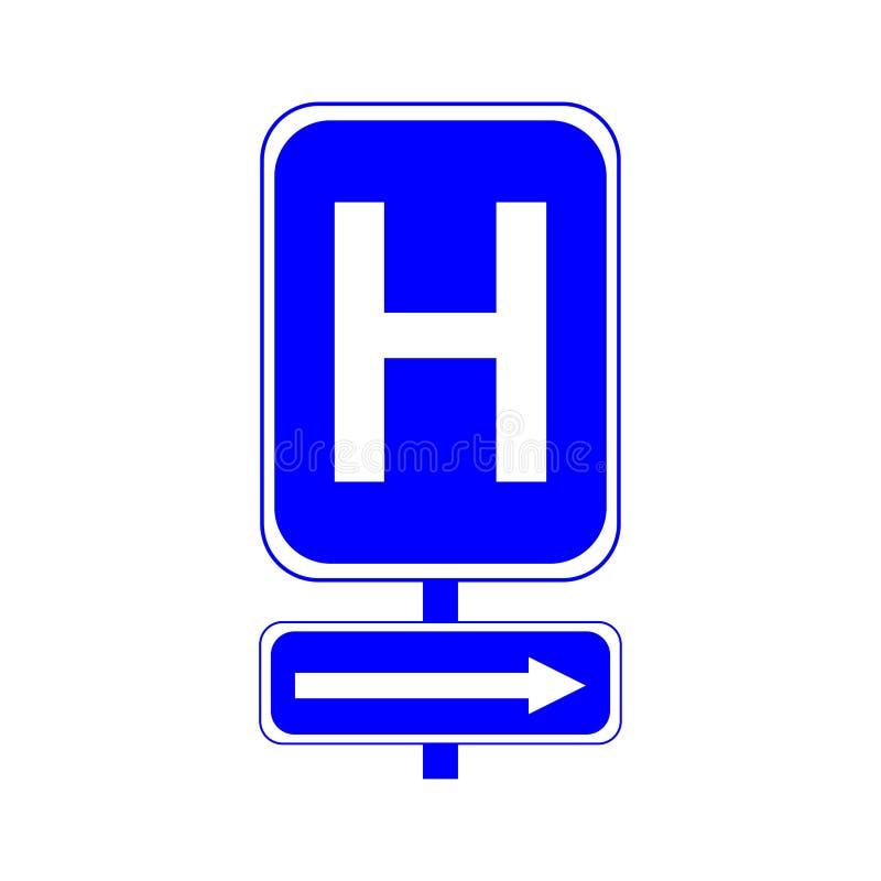 Muestra del hospital Letra H en un fondo azul Y la flecha a la derecha stock de ilustración