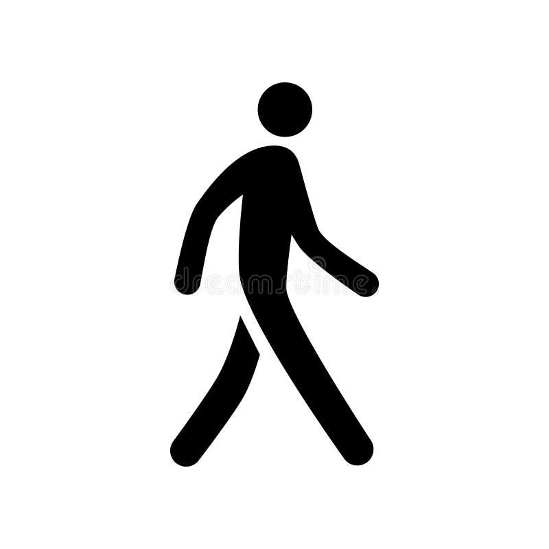 Muestra del icono de la silueta del hombre de la persona que camina stock de ilustración