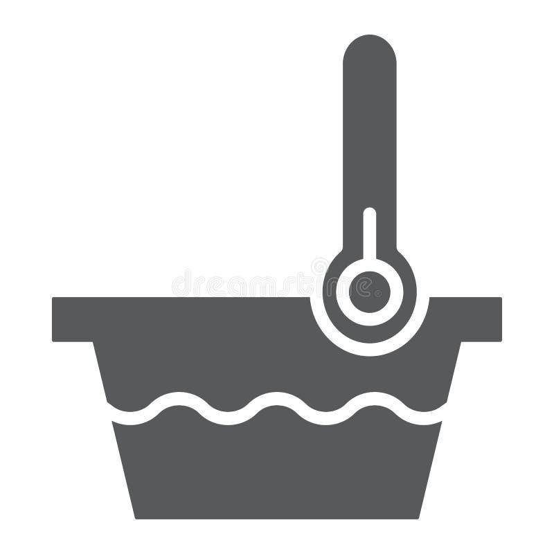 Muestra del icono, del indicador y del lavado, del termómetro y del lavabo del glyph de la baja temperatura, gráficos de vector,  stock de ilustración