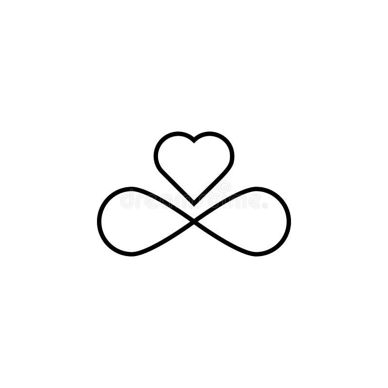 Muestra del icono del infinito y del corazón Elemento de la boda para el ejemplo móvil de los apps del concepto y del web Línea f libre illustration