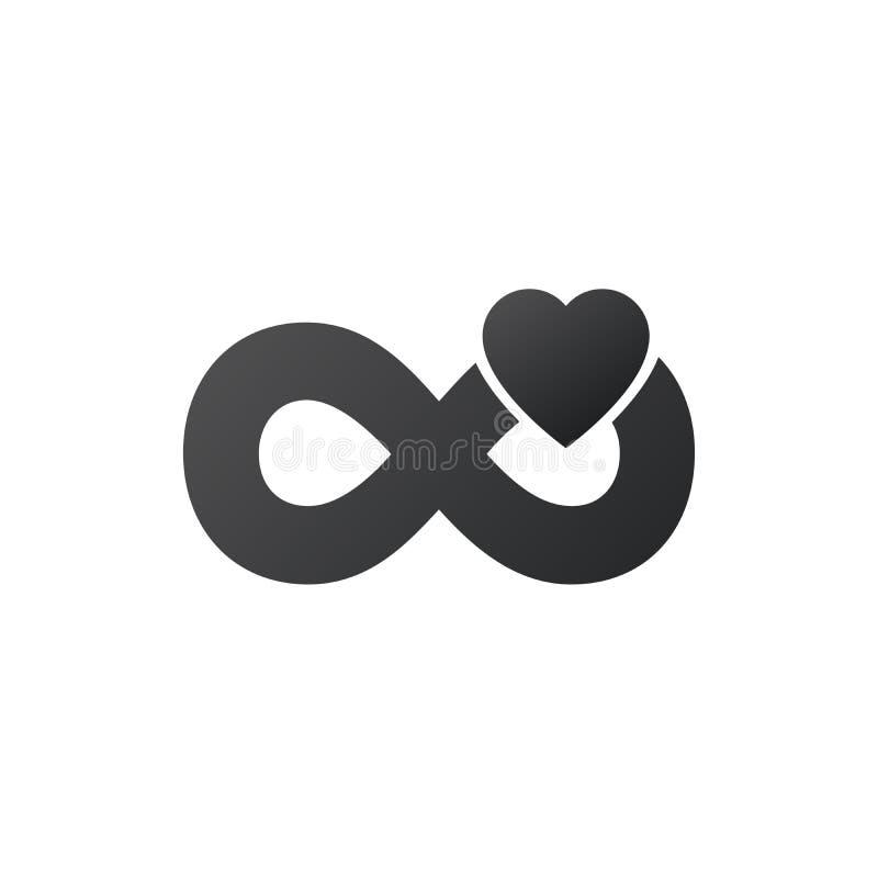 muestra del infinito con el logotipo del coraz?n Logotipo rom?ntico moderno Amor para siempre, concepto ilimitado del amor Ejempl stock de ilustración
