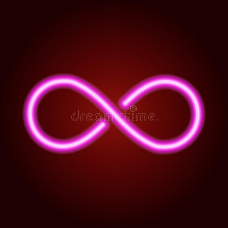 Muestra del infinito de la línea de neón rosada que brilla intensamente Ilustración del vector stock de ilustración