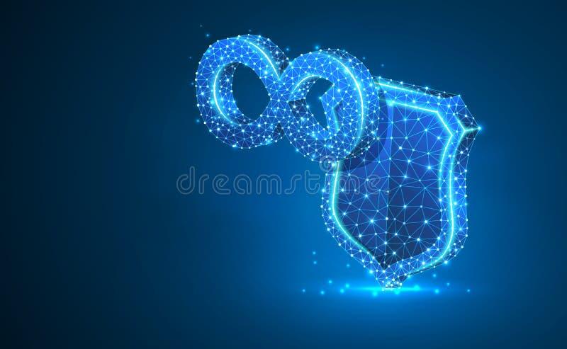 Muestra del infinito en el escudo de la seguridad, ejemplo de neón abstracto 3d Concepto poligonal del negocio del vector de tie stock de ilustración