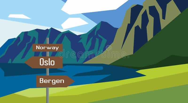 Muestra del infographics del país del mapa de Noruega libre illustration