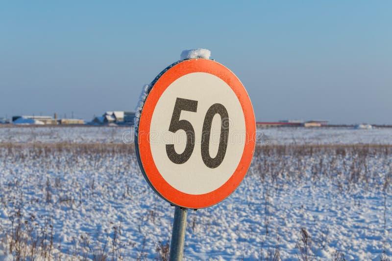 Muestra 50 del límite de velocidad foto de archivo libre de regalías