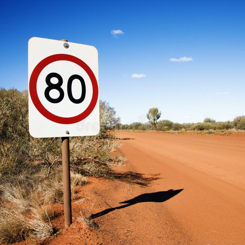 Muestra del límite de velocidad del kilómetro imagenes de archivo