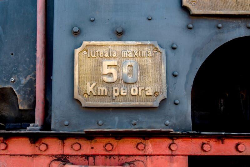 Muestra del límite de velocidad del tren fotografía de archivo