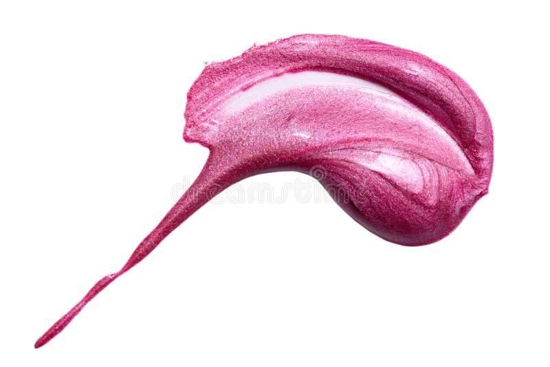 Muestra del lustre del labio aislada en blanco Lipgloss rosados manchados fotografía de archivo libre de regalías