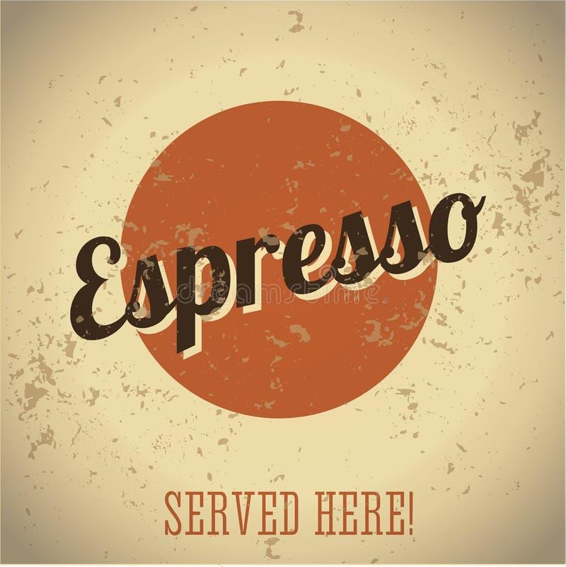 Muestra del metal de la vendimia - café express del café stock de ilustración