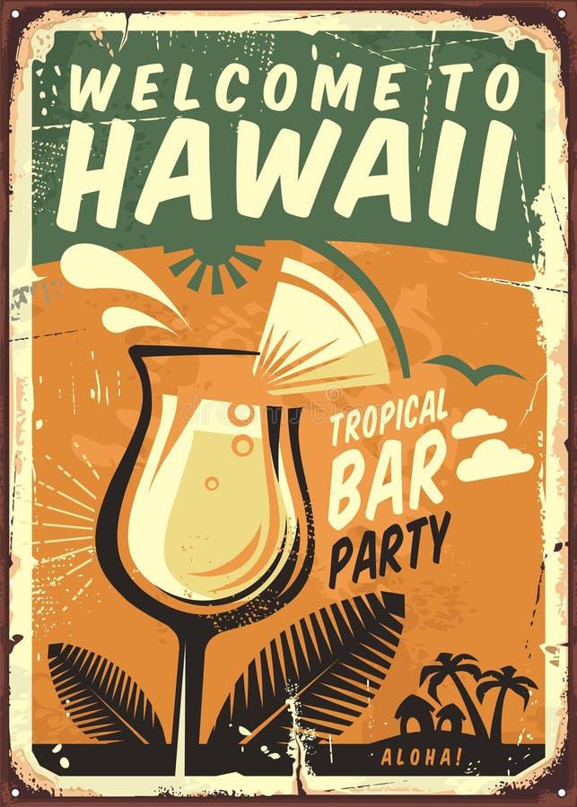 Muestra del metal del vintage de Hawaii libre illustration