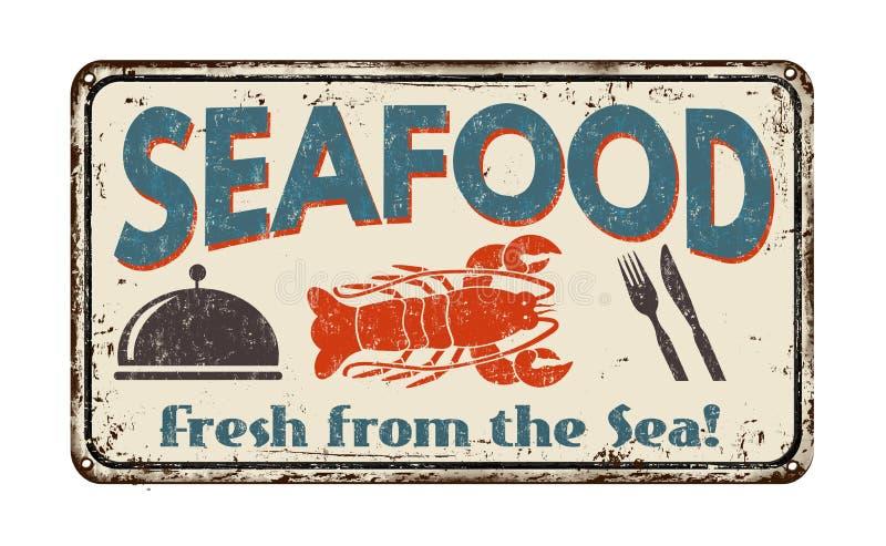 Muestra del metal del vintage de los mariscos ilustración del vector