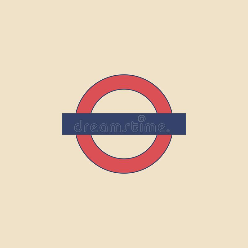 Muestra del metro del vector en estilo plano moderno en fondo ligero Cartel con la muestra subterráneo libre illustration