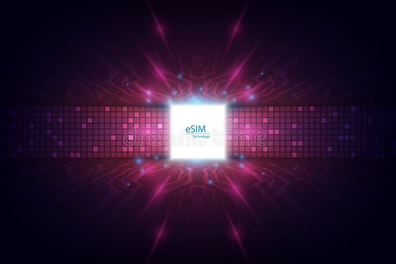 Muestra del microprocesador de la tarjeta de ESIM Concepto integrado de SIM Nuevos tecnología de comunicación móvil y vector de l stock de ilustración