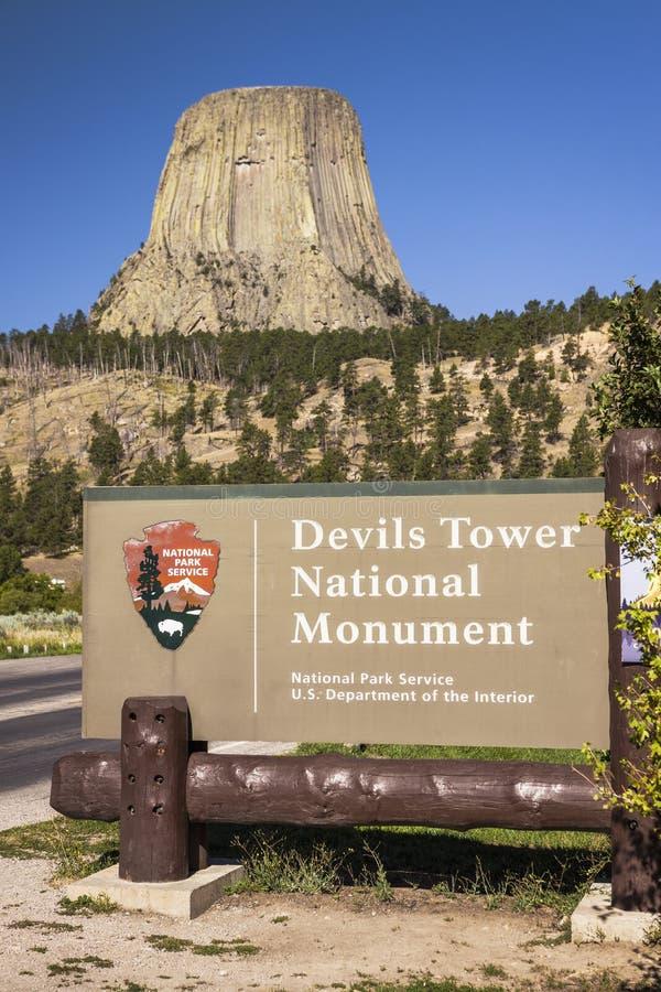 Muestra del monumento nacional de la torre de los diablos imagenes de archivo
