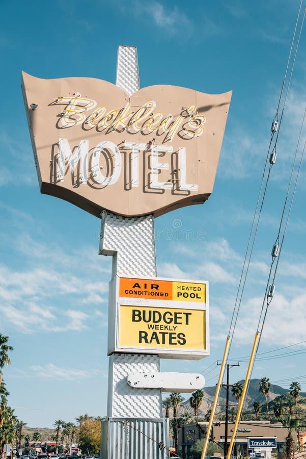 Muestra del motel de Beckley, en Palm Springs, California fotografía de archivo libre de regalías
