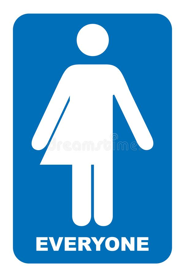 Muestra del neutral del género Muestra del lavabo del transexual Ilustración del vector Símbolo azul aislado en blanco Bandera ob stock de ilustración