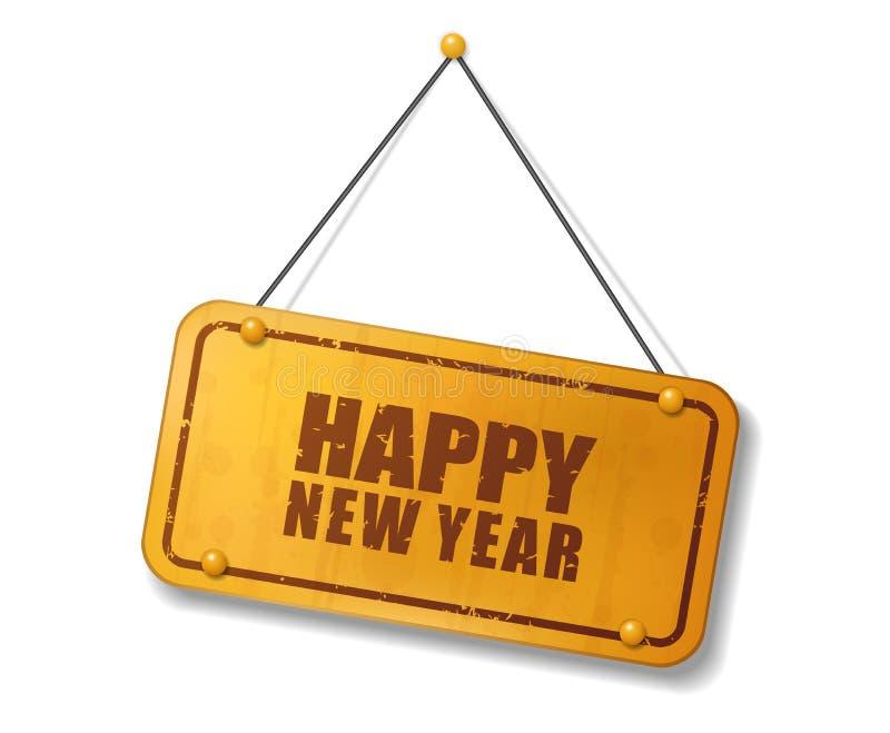 Muestra del oro viejo del vintage con el texto de la Feliz Año Nuevo stock de ilustración