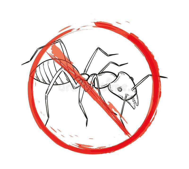 Muestra del peligro con el bosquejo de la hormiga stock de ilustración