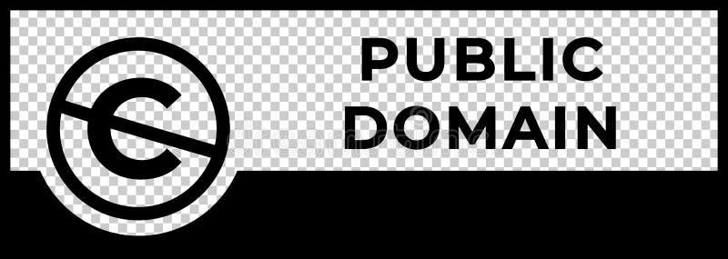 Muestra del public domain con hacia fuera cruzado el icono de la letra de C ilustración del vector