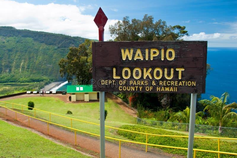 Muestra del puesto de observación del valle de Waipio en la isla grande de Hawaii imagenes de archivo