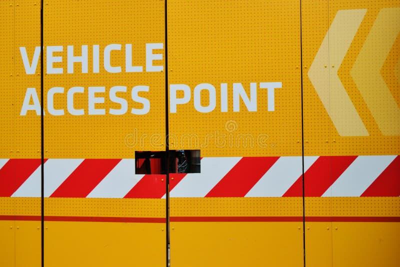 Muestra del punto de acceso del vehículo fotos de archivo