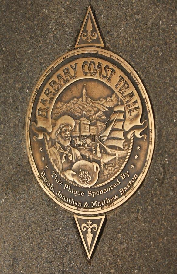 Muestra del rastro de la costa de Barbary en San Francisco fotografía de archivo libre de regalías