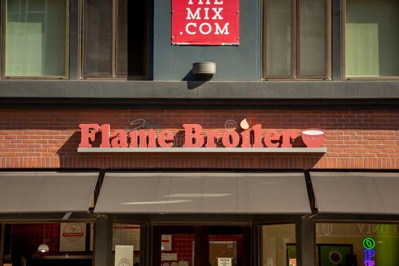 Muestra del restaurante de la parrilla de la llama imagen de archivo libre de regalías