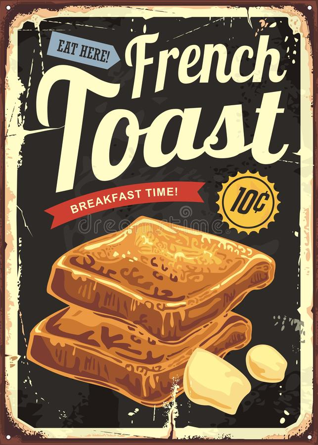 Muestra del restaurante de la tostada francesa Cartel retro del vector para la barra o el comensal del café libre illustration