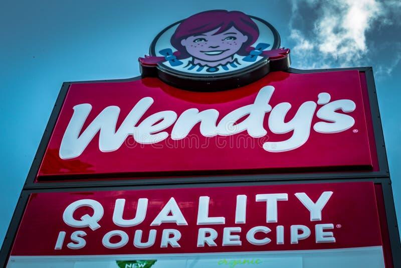 Muestra del restaurante de los alimentos de preparación rápida de Wendys imágenes de archivo libres de regalías