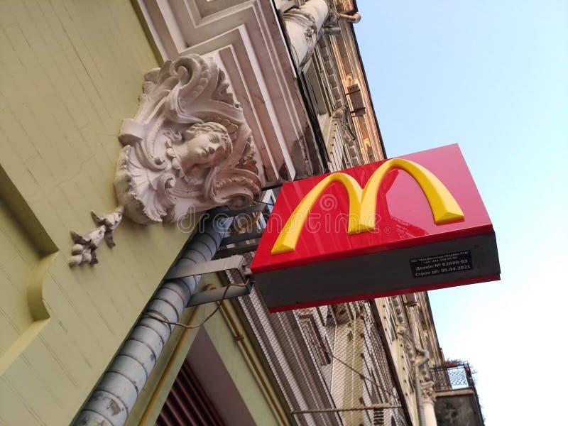 Muestra del restaurante del ` s de McDonald fotografía de archivo