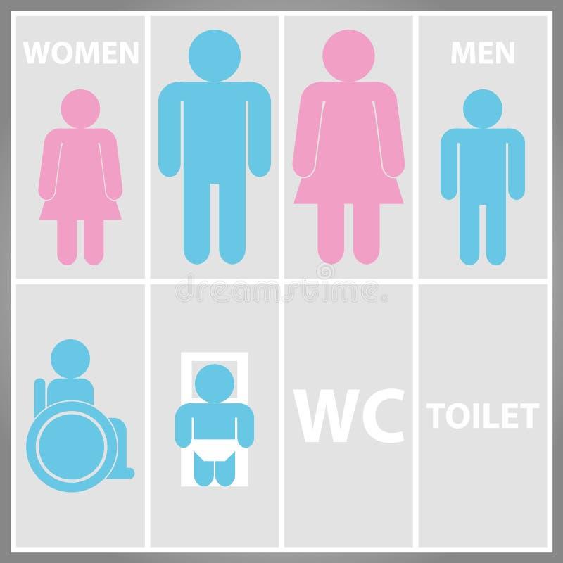 Muestra del retrete con el WC del retrete, de los hombres y de las mujeres imagenes de archivo