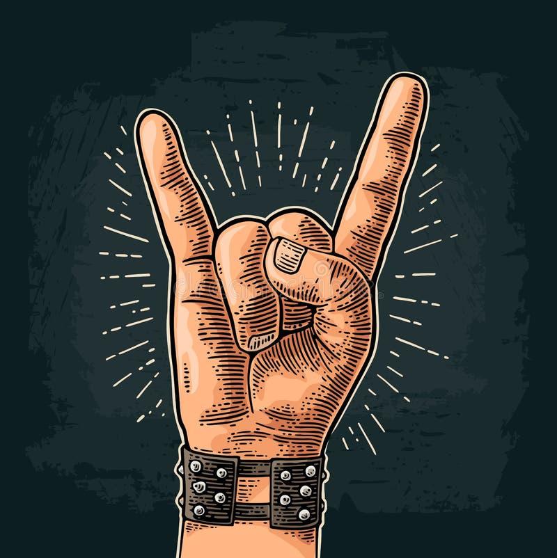 Muestra del rock-and-roll Ejemplo grabado vintage del color del vector ilustración del vector