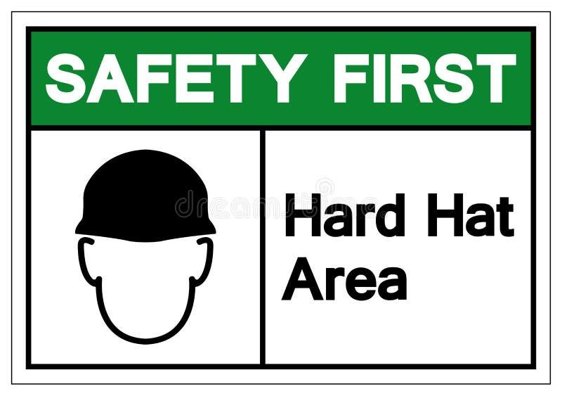 Muestra del símbolo del área del casco de la seguridad primero, ejemplo del vector, aislante en la etiqueta blanca del fondo EP libre illustration