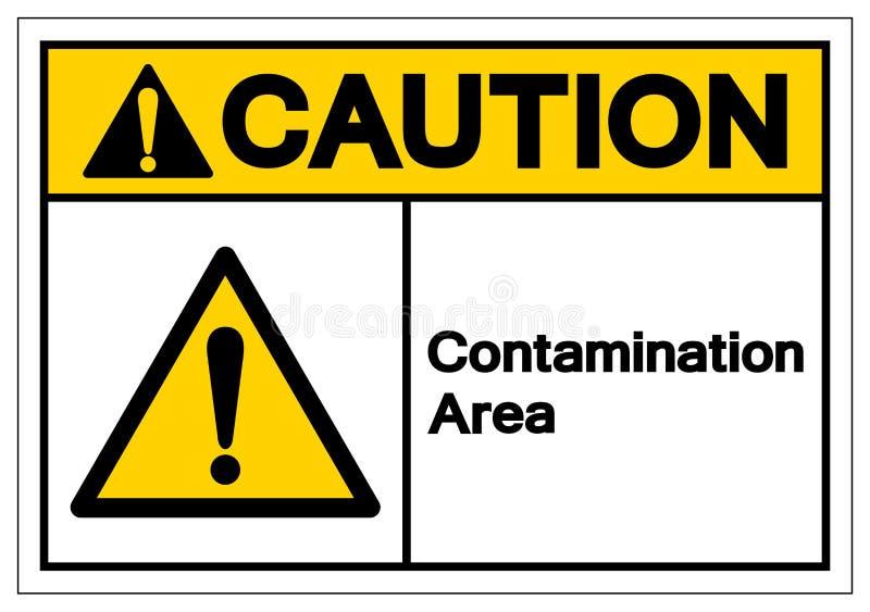 Muestra del símbolo del área de la contaminación de la precaución, ejemplo del vector, aislante en la etiqueta blanca del fondo E ilustración del vector