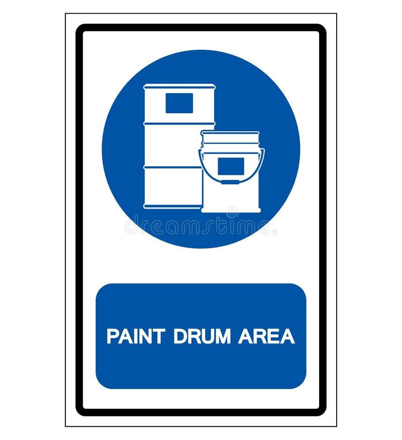 Muestra del símbolo del área del tambor de la pintura, ejemplo del vector, aislado en la etiqueta blanca del fondo EPS10 ilustración del vector