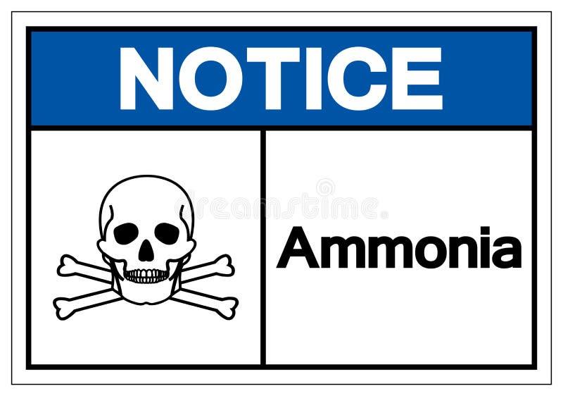 Muestra del símbolo del amoníaco del aviso, ejemplo del vector, aislante en la etiqueta blanca del fondo EPS10 libre illustration