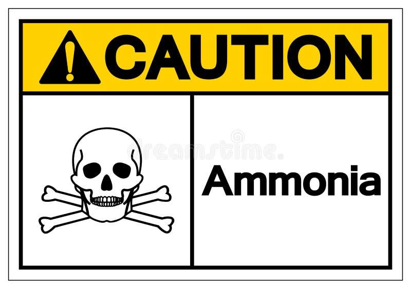 Muestra del símbolo del amoníaco de la precaución, ejemplo del vector, aislante en la etiqueta blanca del fondo EPS10 libre illustration