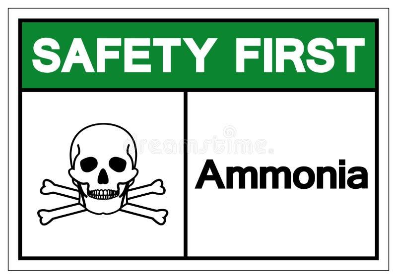 Muestra del símbolo del amoníaco de la seguridad primero, ejemplo del vector, aislante en la etiqueta blanca del fondo EPS10 stock de ilustración