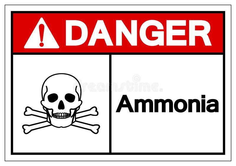 Muestra del símbolo del amoníaco del peligro, ejemplo del vector, aislante en la etiqueta blanca del fondo EPS10 ilustración del vector