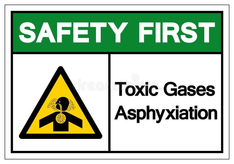 Muestra del símbolo de la asfixia de los gases de tóxico de la seguridad primero, ejemplo del vector, aislante en la etiqueta bla stock de ilustración