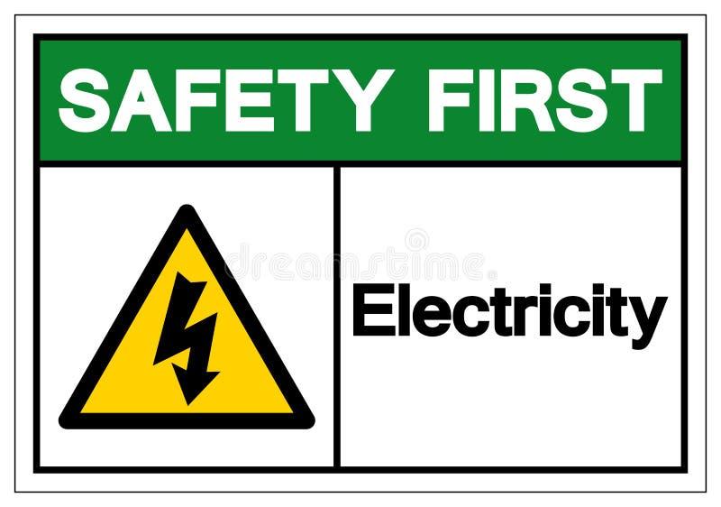 Muestra del símbolo de la electricidad de la seguridad primero, ejemplo del vector, aislante en la etiqueta blanca del fondo EPS libre illustration