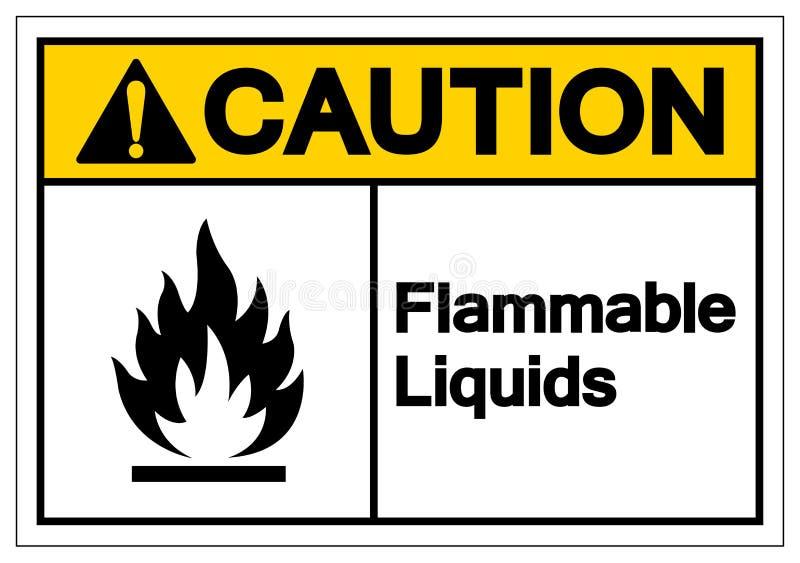 Muestra del símbolo de los líquidos inflamables de la precaución, ejemplo del vector, aislante en la etiqueta blanca del fondo EP stock de ilustración