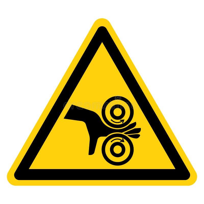 Muestra del símbolo de los rodillos del enredo de la mano, ejemplo del vector, aislante en la etiqueta blanca del fondo EPS10 ilustración del vector