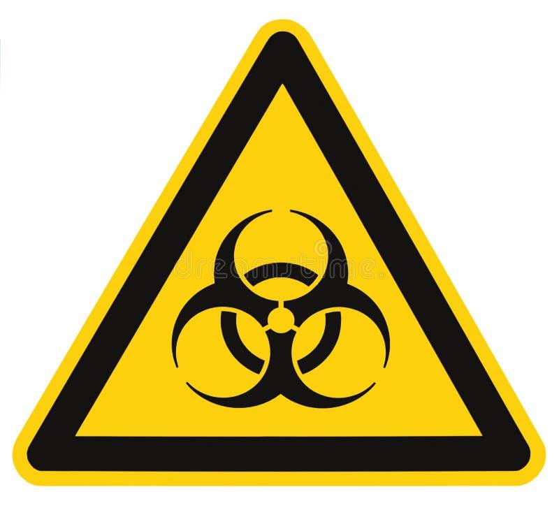 Muestra del símbolo del Biohazard, alarma biológica de la amenaza, señalización amarilla negra aislada de la etiqueta del triángu foto de archivo